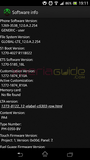Xperia SP C5303 Android 4.1.2 12.0.A.2.254 firmware update - Software Info