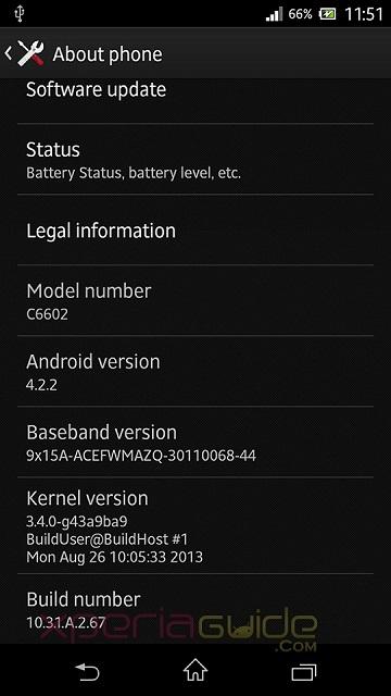 Xperia Z 10.3.1.A.2.67 firmware Update