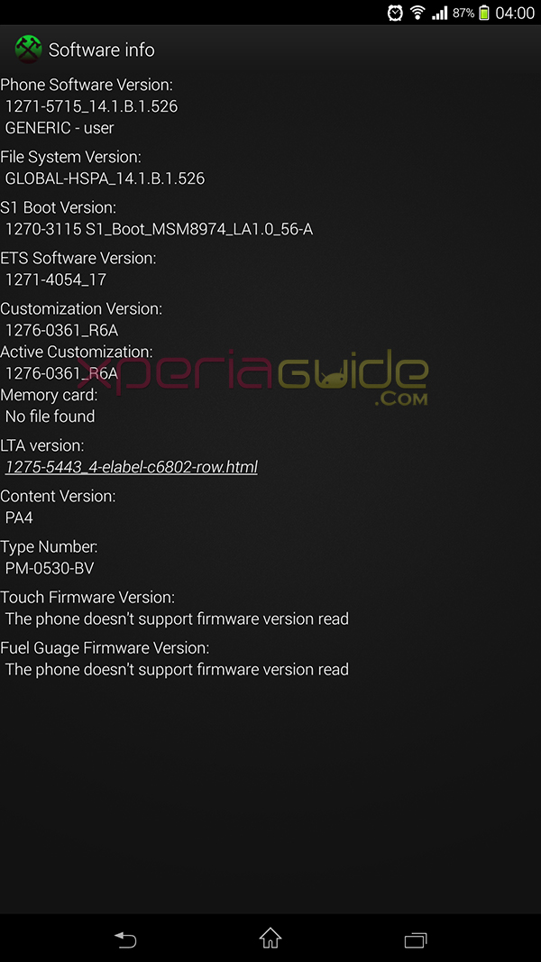 Xperia Z Ultra C6802 14.1.B.1.526 Firmware Details - Software Info