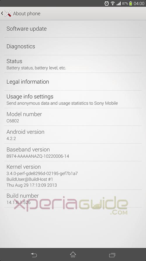 Xperia Z Ultra C6802 14.1.B.1.526 Firmware Details update