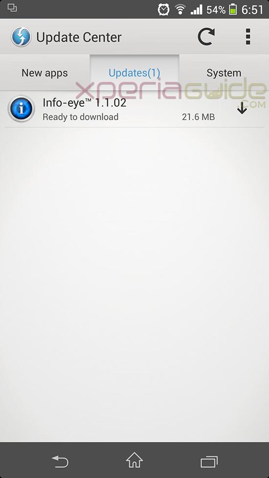 Xperia Z1 Camera app Info-eye version 1.1.02 update