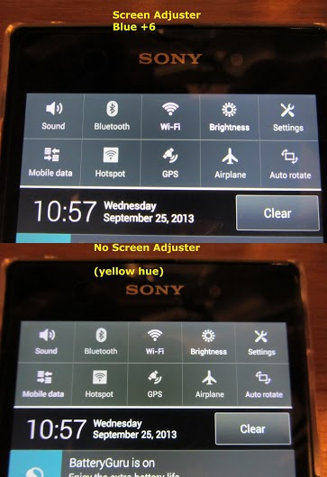 Xperia Z1 Yellow Hue Tint Issue on Screen Display - Solution - change blue settings to +6 and tap on