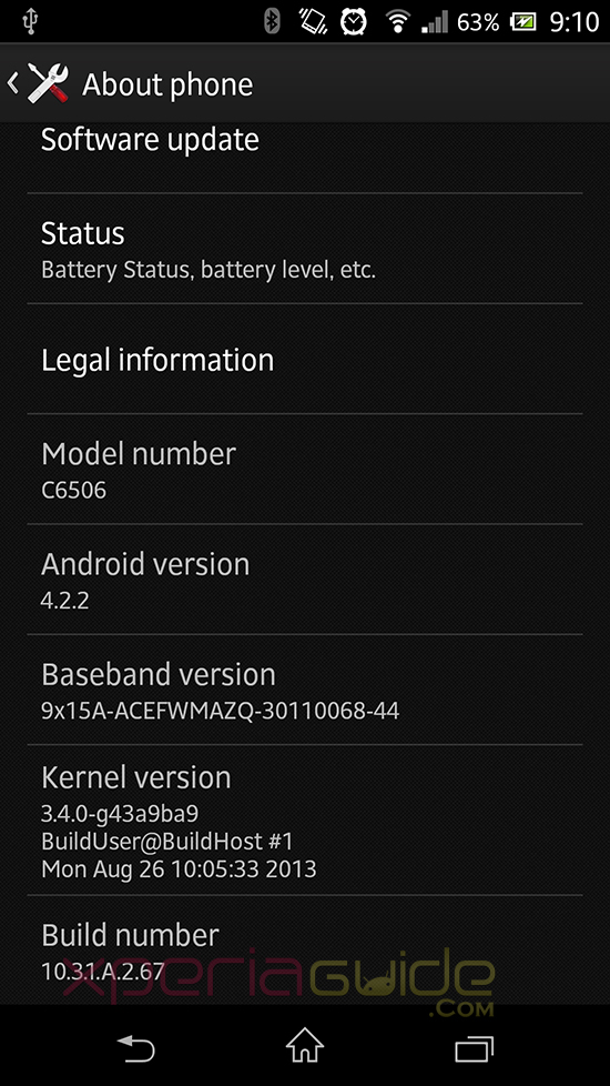 Xperia ZL 10.3.1.A.2.67 Firmware Details