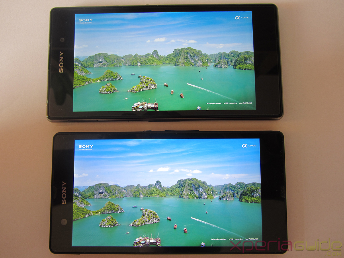 Xperia Z1 Triluminos Display Vs Xperia Z Display Comparison - Green Water Background