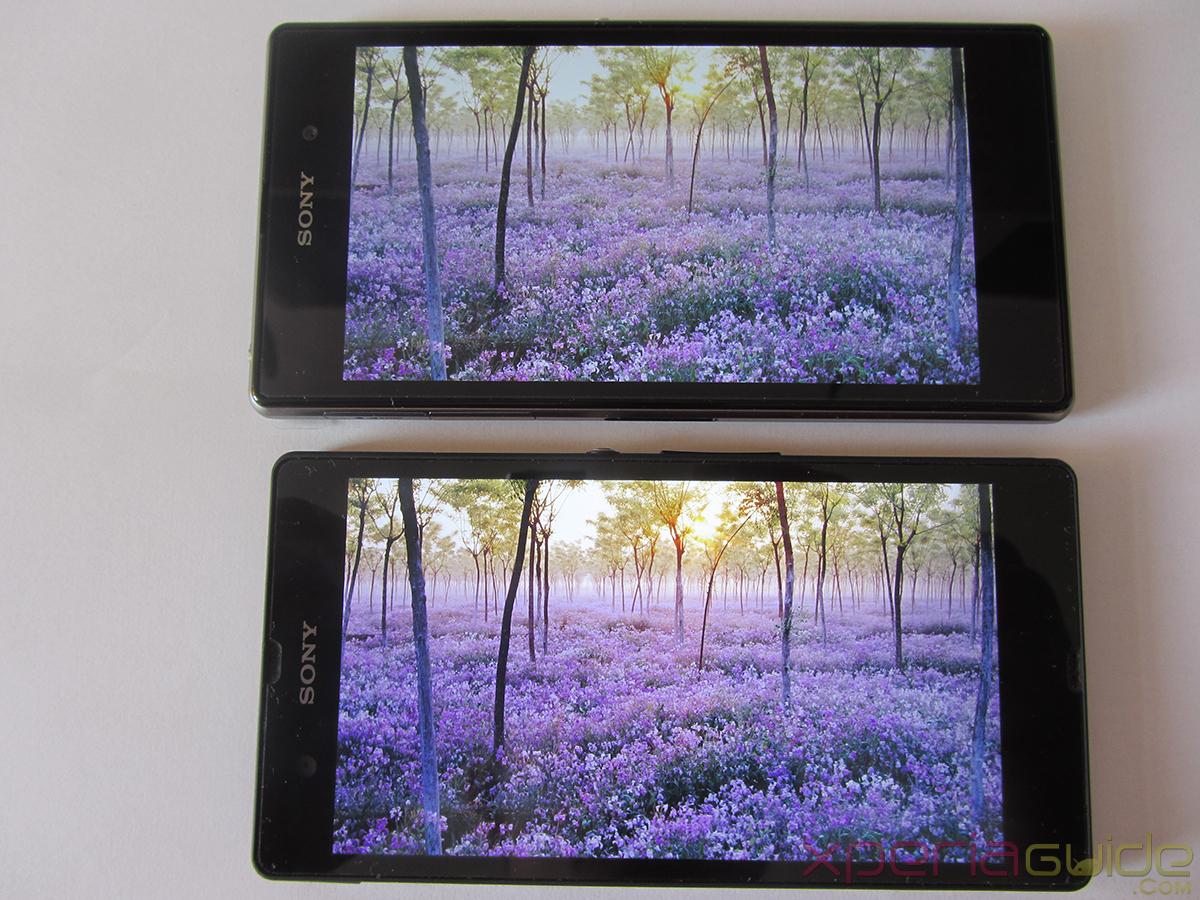 Xperia Z1 Triluminos Display Vs Xperia Z Display Comparison - Purple Background