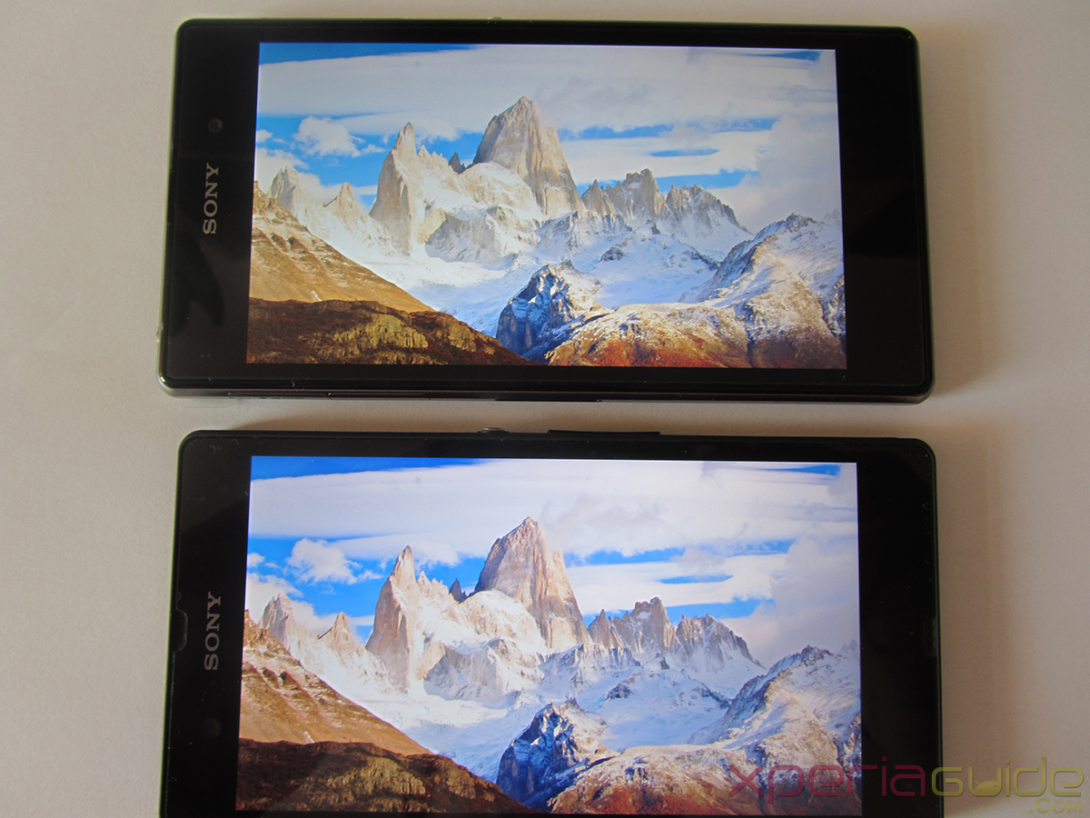 Xperia Z1 Triluminos Display Vs Xperia Z Display Comparison - White Mountain Background