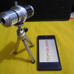 Sony Xperia Z 12x Zoom Telescope with Tripod Stand arrangement with Xperia Z