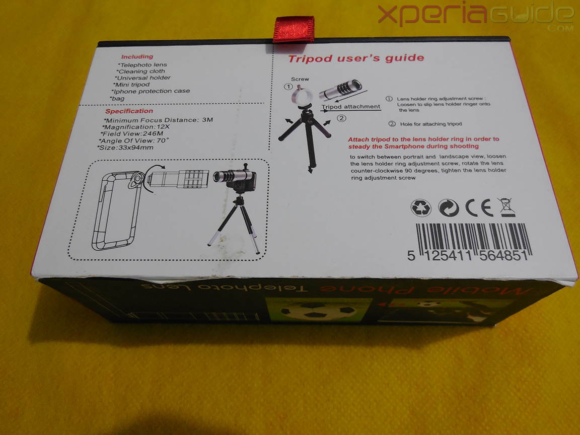Sony Xperia Z 12x Zoom Telescope with Tripod Stand - Back cover