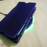 Muvit Sony Xperia Z wireless charging pack - Xperia Z placed on Charging Pad