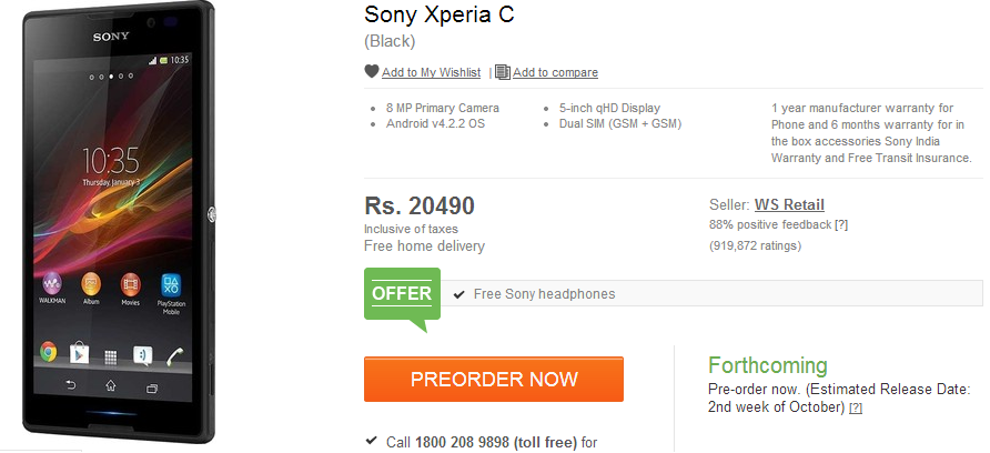 Dual Sim Sony Xperia C launched at Rs. 20490 in India