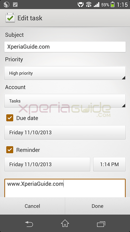 Sony Xperia Z1 Tasks App version 1.0.A.0.1