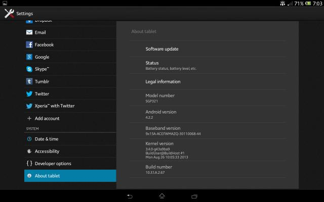 Xperia Tablet Z SGP321 10.3.1.A.2.67 firmware Details About phone