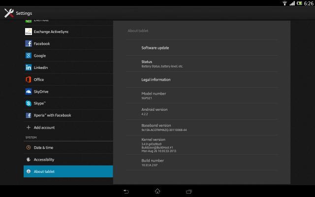 Xperia Tablet Z SGP321 10.3.1.A.2.67 firmware Details