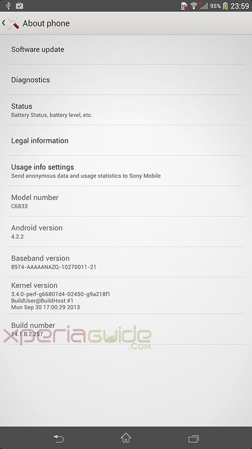 Xperia Z Ultra 14.1.B.2.257 firmware Details