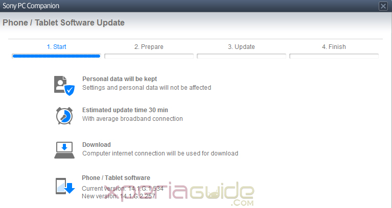 Xperia Z1 14.1.G.2.257 firmware major update PCC