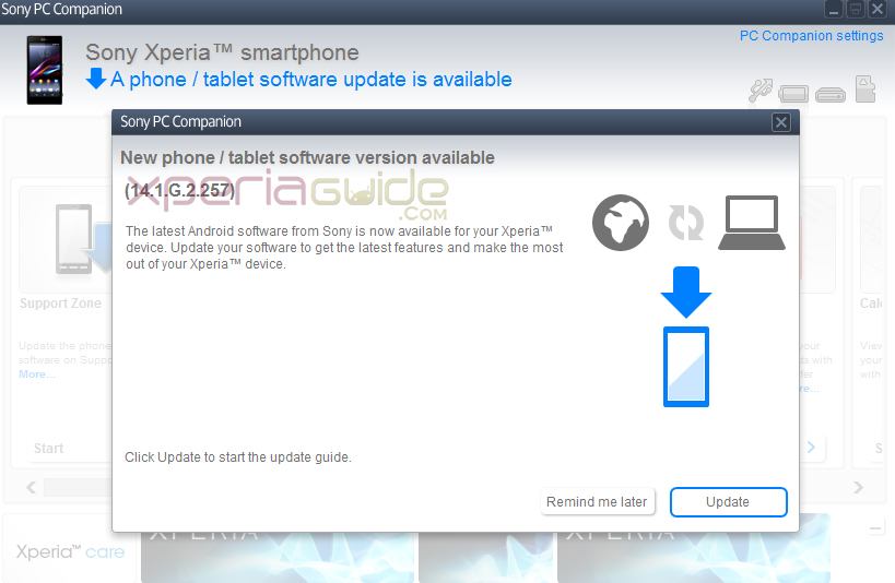 Xperia Z1 14.1.G.2.257 firmware major update via PC Companion