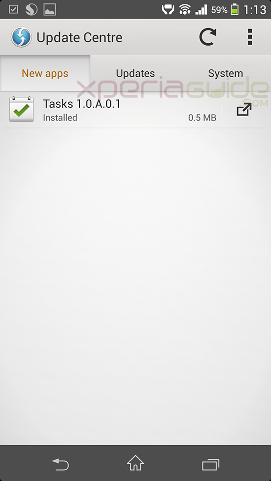 Xperia Z1 Tasks App version 1.0.A.0.1 OTA update
