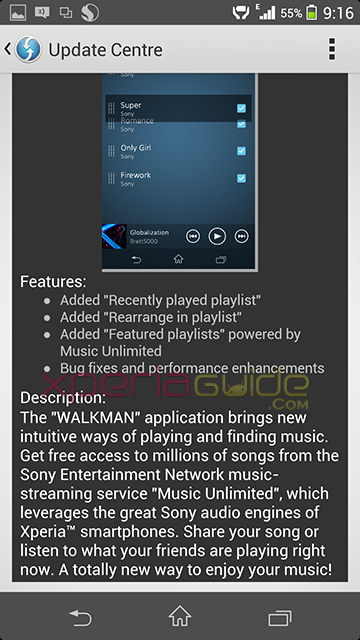 Walkman app version 7.15.A.0.0 OTA Update Changelog