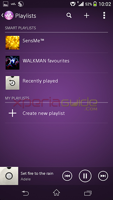 Walkman app version 7.15.A.0.0 Features