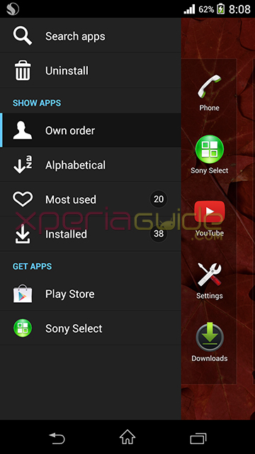 Xperia Home 6.1.A.0.5 version on Xperia Z1