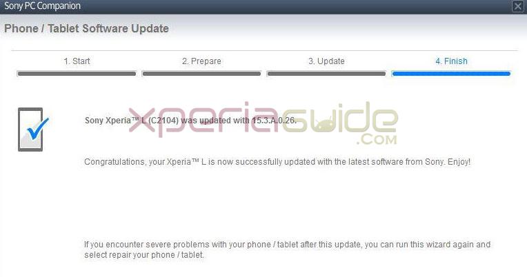 Xperia L Android 4.2.2 15.3.A.0.26 firmware update via PCC