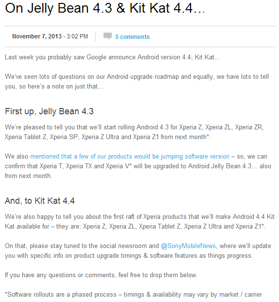 Read Official Sony Statement on Android 4.4 KitKat update
