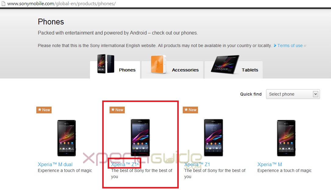 Xperia Z1S spotted on Sony Mobile Global Site and Taken Down in an Hour