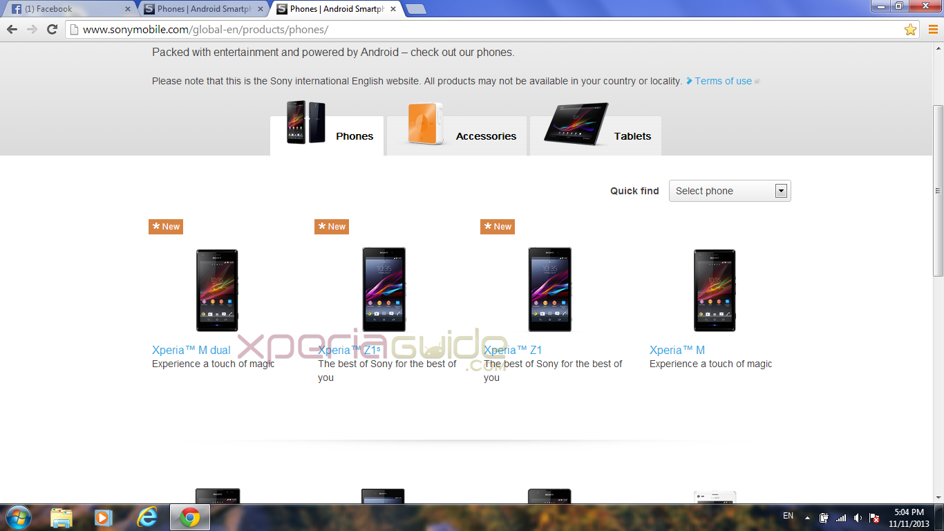 Xperia Z1S spotted on Sony Mobile Global Site