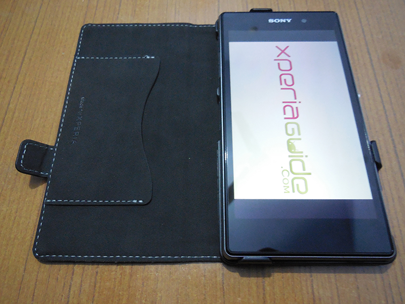 Muvit Black Leather flip case for Xperia Z1 - Credit Card Slot