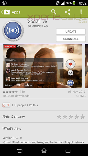 Xperia Z1 Camera app Social Live Version 1.0.14 Update