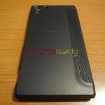 Xperia Z1 Side Flip Case from RockPhone - Back side, Sony logo can be seen