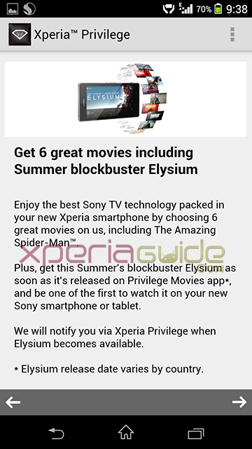Movies Free from Xperia Privilege Movies app including Elysium