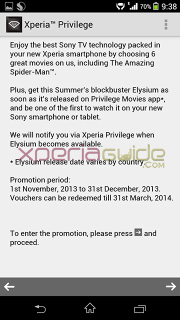 Xperia Privilege Movies app - TOS