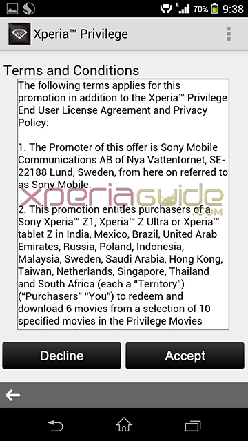 Download 6 Movies Free from Xperia Privilege Movies app