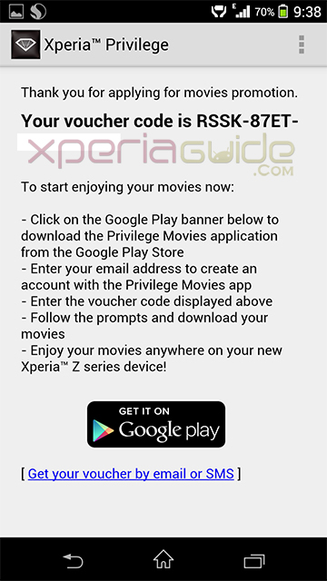 Xperia Privilege Movies app - Voucher Code