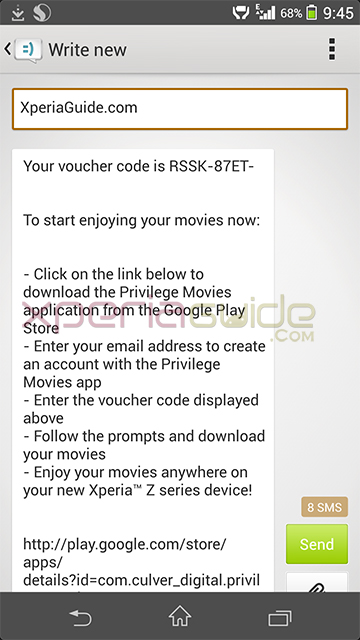 Xperia Privilege Movies app - Voucher Code via SMS