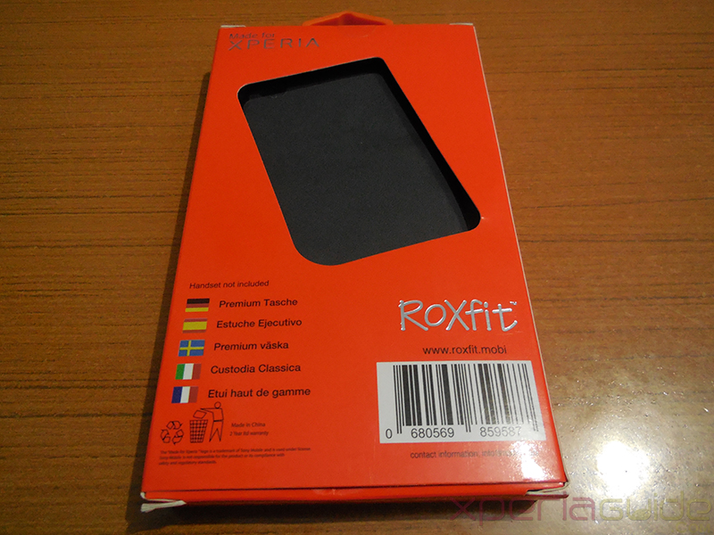 Xperia Z1 Book Flip Case from Roxfit - Back of cover