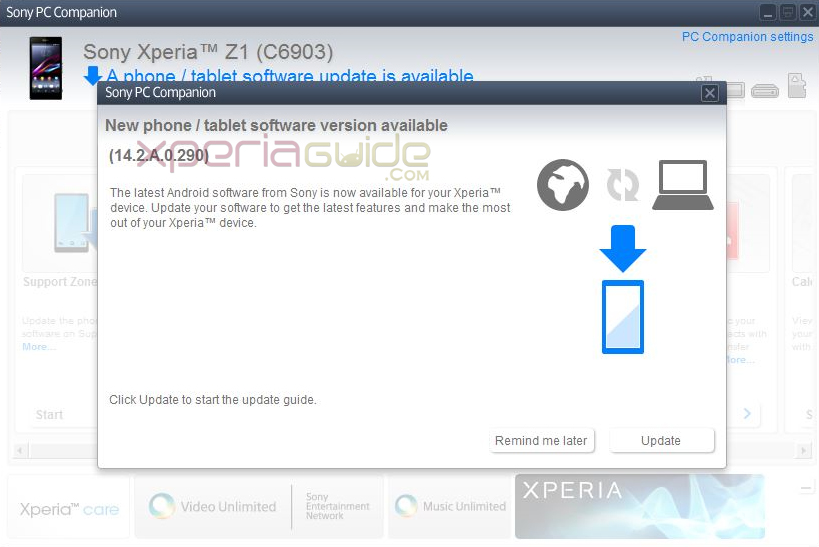 Android 4.3 14.2.A.0.290 firmware Update on Xperia Z1 via PC Companion