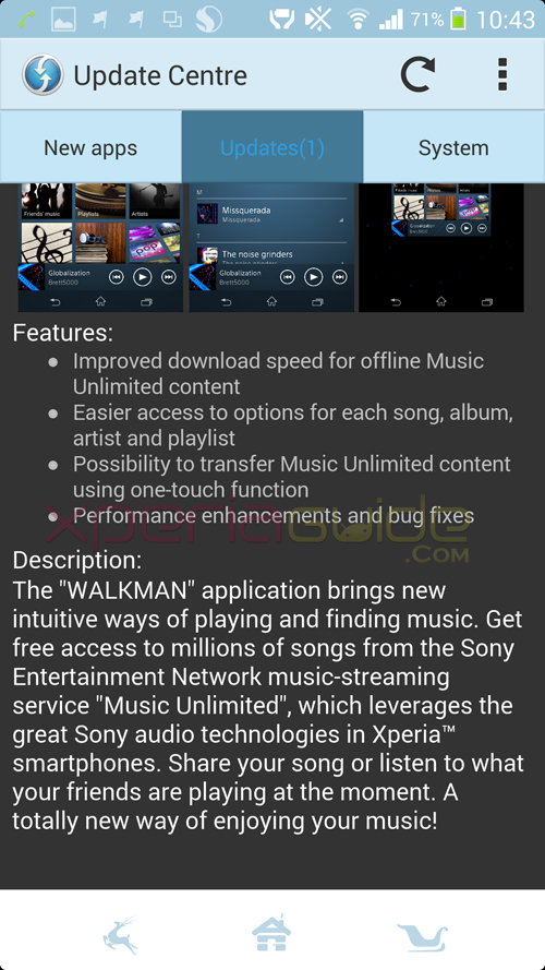 Features of Walkman app version 8.1.A.0.3 update
