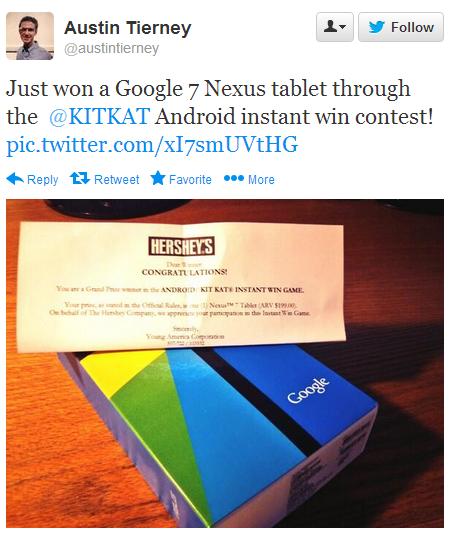 KitKat gave Nexus 7 2013 to US Winners