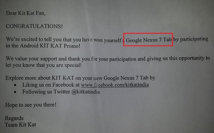 KitKat sent Nexus 7 2012 Tab to Indian winners