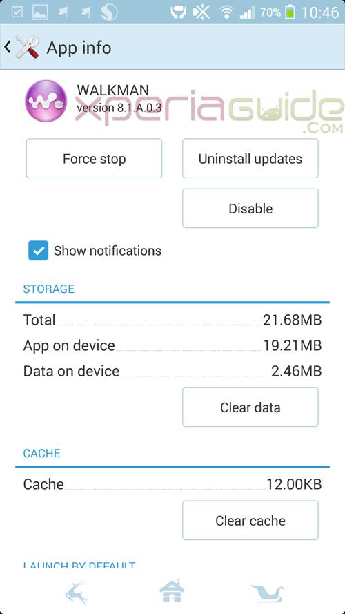 Memory details of Walkman app version 8.1.A.0.3 update