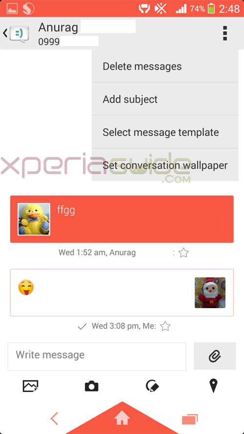 Set conversation wallpaper in SMS on Android 4.3 in Xperia Z1