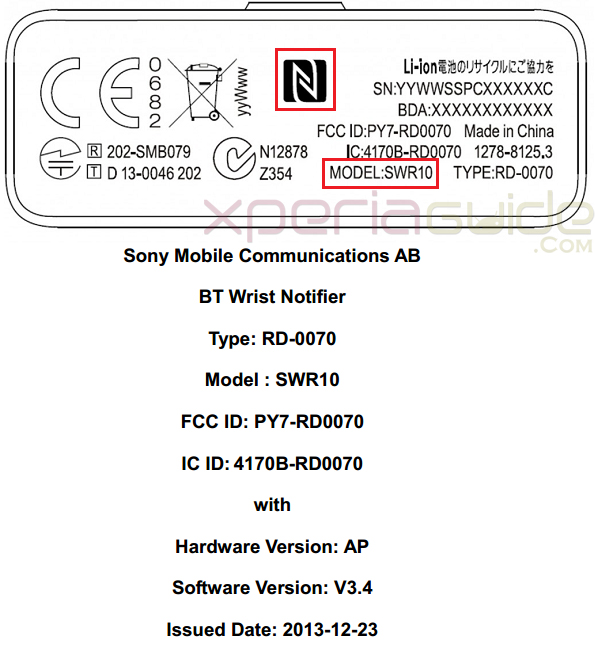 Sony BT Wrist Notifier SWR10 Spotted on FCC