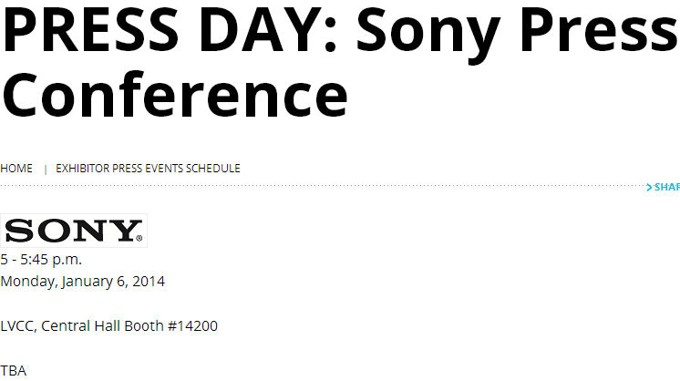 Sony's CES 2014 Press conference on January 6, 2014 at Las Vegas