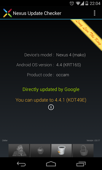 Update notification of Android 4.4.1 KOT49E Update on Nexus 4