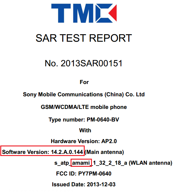 Xperia Amami seen on android 4.3 14.2.A.0.144 firmware.