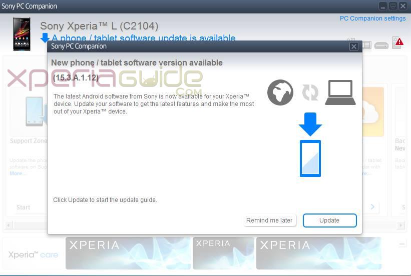 Xperia L 15.3.A.1.12 Firmware Update  via PC Companion