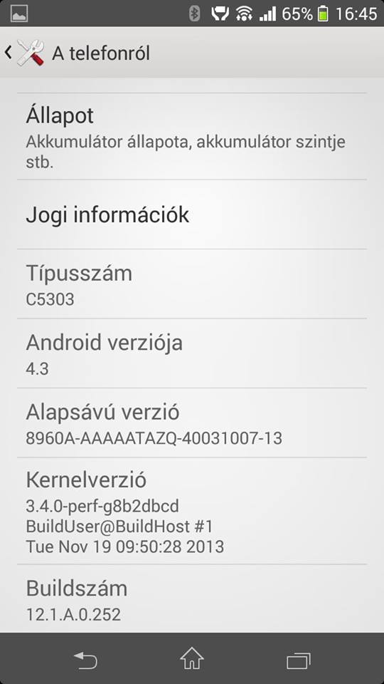 Xperia SP android 4.3 12.1.A.0.252 firmware screenshot - About Phone