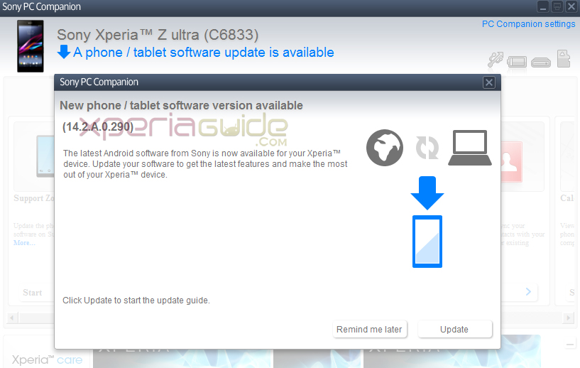 Xperia Z Ultra Android 4.3 14.2.A.0.290 firmware Update
